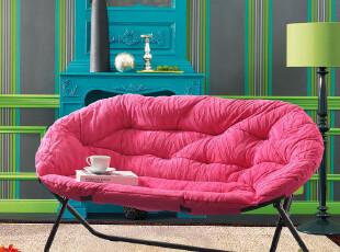 新品首发 瑞西屋正品 短毛绒可折叠双人沙发椅 双人懒人椅子 包邮,椅凳,