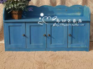 特价可订做 地中海鞋柜 美式乡村做旧换鞋凳 储物凳 全实木家具,椅凳,