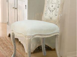 出口法国家具普罗旺斯花园水洗白橡木亚麻包布餐椅现货,椅凳,