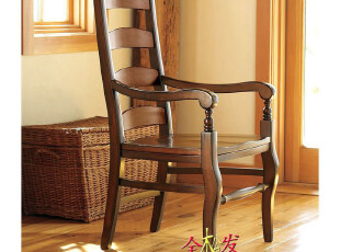 (仿PotteryBarn家具FDC027)Wynn实木扶手椅/超HarborHouse,椅凳,