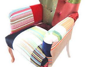 法思思家居 欧式布艺拼布波普 彩色沙发单人椅法式古典田园沙发椅,椅凳,