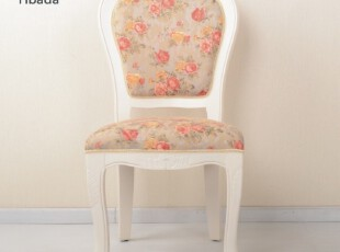 皇冠【黑白调】餐椅田园风花朵白色单人椅子特价包邮,椅凳,