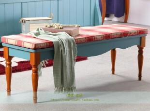 特价可定制 美式乡村床尾登 地中海做旧长凳 换鞋凳 实木家具,椅凳,