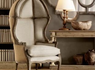 出口外贸原单/复古实木沙发麻布面料皇室沙发/法式仿旧家具,椅凳,