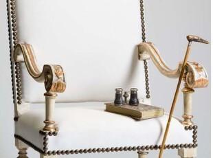 出口欧洲 欧式休闲椅 实木雕刻 仿古白 贴金箔 仿古 做旧,椅凳,