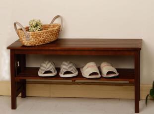 美居新思 日式简约实木换鞋凳 天然松木穿鞋凳 玄关脚踏凳(双人),椅凳,