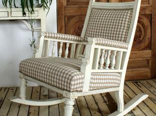 【汉资 西洋镜】摇椅 全牛皮做旧 奈奈家 彩漆做旧 实木摇椅,椅凳,