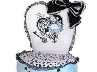 日本直送迪斯尼正品爱丽丝梦游仙境可爱大蝴蝶结蓝黑座椅子A,椅凳,
