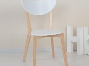 皇冠【黑白调】家具精品馆餐椅白时尚宜家圆形实木椅子特价包邮,椅凳,