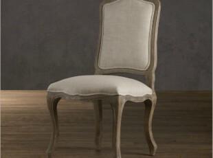 出口欧洲外贸产品/橡木风化灰布艺餐椅1号/欧式仿旧家具,椅凳,