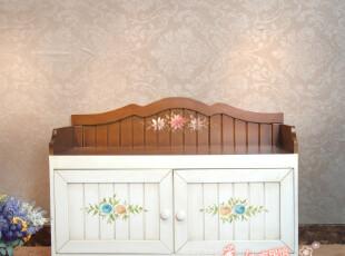 美式田园彩绘储物凳简约仿古换鞋凳收纳凳乡村客厅木质式鞋柜鞋架,椅凳,
