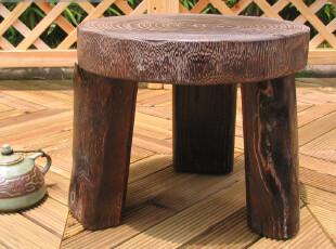 【庭院时光】日式烧桐家具古朴原木三足圆凳大号,椅凳,