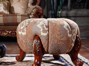卫诗理家具-欧式家具 美式凳 实木凳 布艺雕花凳 M0210,椅凳,