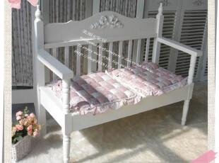 韩式浮雕实木田园白色家具 实木沙发椅 休闲双人椅 特价,椅凳,