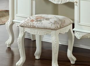凯撒豪庭 欧式家具 实木妆凳 田园妆凳 白色妆凳 梳妆凳 包邮/KS,椅凳,