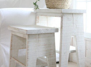 【韩国家居直送】纯真年代 古朴原木水洗白方凳,椅凳,