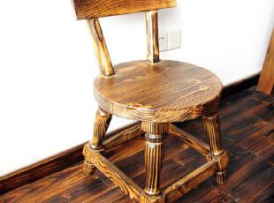 手工实木定制 乡村田园 小圆椅 松木碳化木,椅凳,