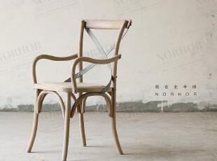 /帕古达经典实木家具/美法式乡村农庄/仿旧铁艺橡木扶手餐椅2款,椅凳,