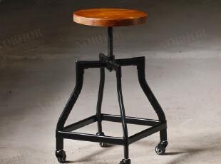 法国工业设计餐椅/怀旧工矿风/复古金属榆木带轮吧台椅凳,椅凳,