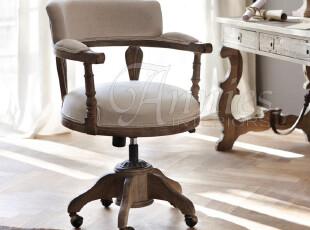 出口法国戴莫拉亚麻橡木液压可升降旋转带滚轮圈椅书桌椅现货,椅凳,