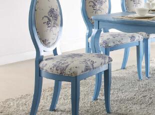 青春在线 地中海家具 餐椅 实木 餐厅家具海蓝色/仿古白餐椅09660,椅凳,