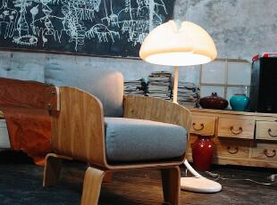 原创家居 原木色水曲柳面曲木格子布艺 咖啡厅休闲沙发椅R06,椅凳,