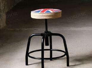 法国工业设计餐椅/怀旧工矿风/复古金属麻布软垫吧台凳/英国国旗,椅凳,