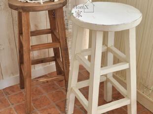 日单 白色圆形花台凳 高脚凳 作旧置物凳 zakka原木色花台凳,椅凳,