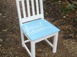 蔚蓝地中海 家用特色餐厅 实木做旧餐椅 休闲椅 时尚简约椅,椅凳,