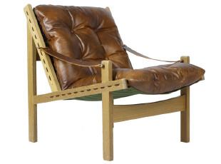【汉资 北欧设计】实木猎人椅 纯柚木 头层牛皮 北欧 简约时尚,椅凳,