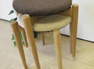 纯实木宜家家具橡木简约布艺餐凳梳妆凳田园zakka风格日系出口,椅凳,