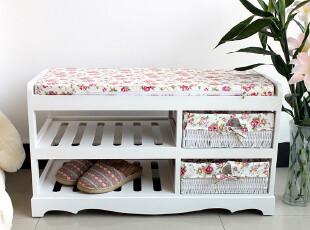特价 2012新款田园风双层实木鞋架/门厅换鞋凳/收纳坐凳 白色,椅凳,