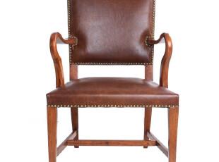 【汉资 北欧设计】单人书椅 沙发椅 实木 头层牛皮 可定制,椅凳,