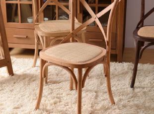 纯橡木餐椅 交叉背简欧田园风格HR6081,椅凳,
