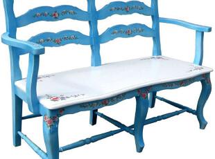 千棵树 手绘爱琴海双人椅 可放在门厅做换鞋椅,椅凳,