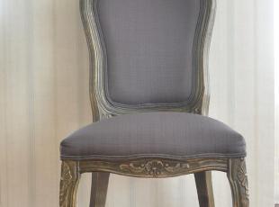 实木雕花椅 布艺软包餐椅 美式欧式餐椅 美克美家风格餐椅,椅凳,