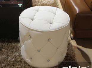 格莱亚 换鞋凳 真皮凳欧式 圆脚踏凳子 小矮沙发凳 梳妆凳 晶钻03,椅凳,