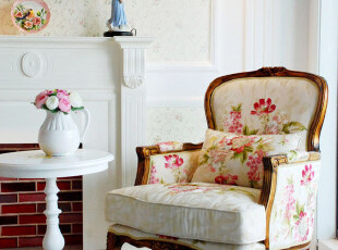 千棵树 高贵典雅法式单椅系列 赛纳单人沙发椅  绣花面料,椅凳,