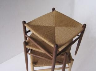 纯实木休闲绳编凳子/餐椅/日式家具简约风/特价秒杀价/地中海风格,椅凳,