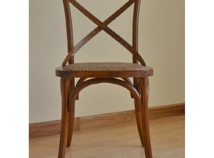 美式乡村橡木椅 地中海田园餐椅 法式交叉背餐椅 美克美家风格,椅凳,