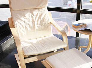 宜家风布艺休闲椅子 时尚创意/休闲单人沙发椅适合阳台(米,椅凳,