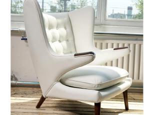 【汉资 北欧设计 】泰迪熊椅  单人 沙发椅 实木 头层牛皮 特价,椅凳,