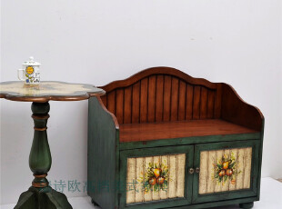 田园彩绘家具/地中海/双门两层小鞋柜不带垫/换鞋凳-X02系列,椅凳,
