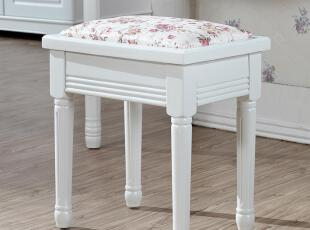 韩菲尔 田园韩式田园家具 凳子实木 梳妆凳 韩式妆凳 包邮/HFE,椅凳,