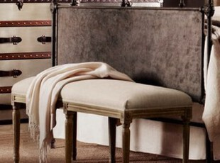 法国乡村风格 榆木拉丝 亚麻软包长凳 换鞋凳 床尾凳S003,椅凳,