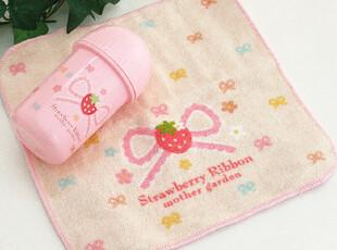 Mother Gardenの甜美草莓蝴蝶便携式旅游小毛巾方巾 附毛巾筒杯,毛巾,