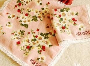 出口日本原单!Pink House 碎花图案小方巾,毛巾,