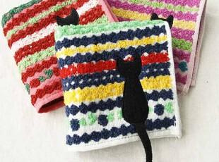 日本原单 俣野温子 雪花纱布提花 猫尾 可爱儿女士方毛巾手帕,毛巾,