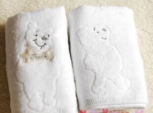 出口日本原单!Disney维尼熊纯白超柔软长毛巾,毛巾,