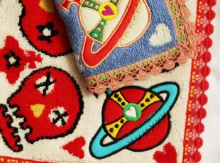 外贸出口日本vivienne westwood土星骷髅纯棉方巾手帕22cm,毛巾,